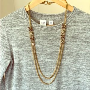 Chic Ann Taylor Gold Tone Crystal Necklace